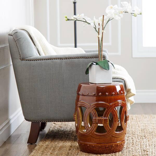 Enjoyable Shop Abbyson Moroccan Brown Ceramic Garden Stool Free Machost Co Dining Chair Design Ideas Machostcouk