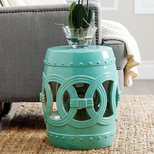 Abbyson Living Moroccan Turquoise Ceramic Garden Stool