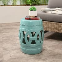 Abbyson Moroccan Turquoise Ceramic Garden Stool