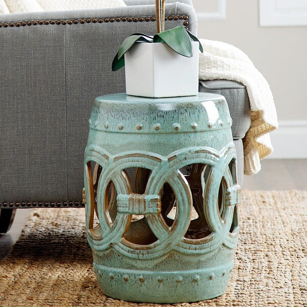 Abbyson Moroccan Antiqued Turquoise Garden Stool Free