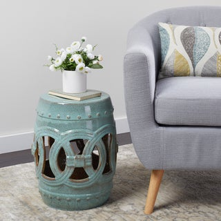 Superb Abbyson Moroccan Antiqued Turquoise Garden Stool