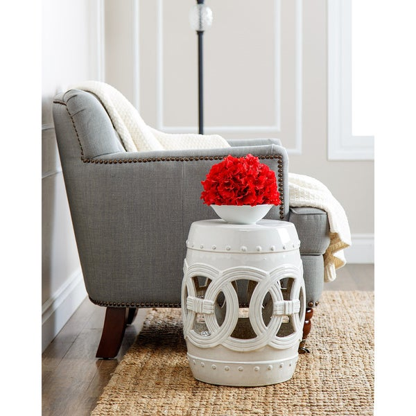 Beautiful Abbyson Moroccan White Garden Stool - Free Shipping Today  OF27