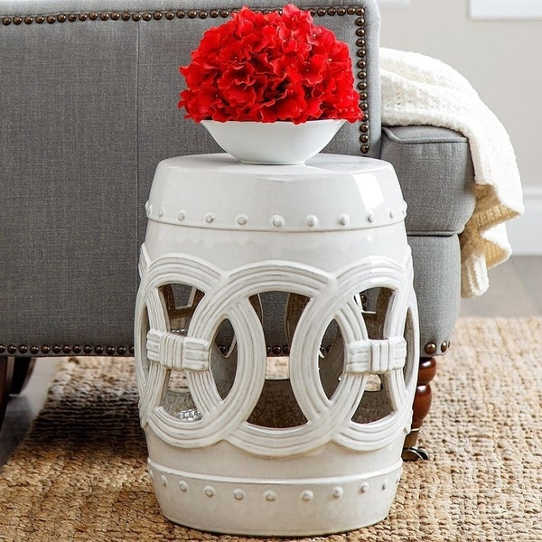 Abbyson Moroccan White Garden Stool Free Shipping Today