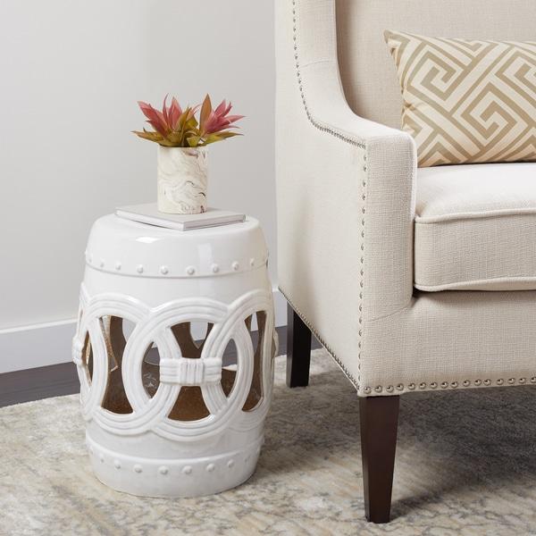 Abbyson Moroccan White Ceramic Garden Stool. Opens flyout.