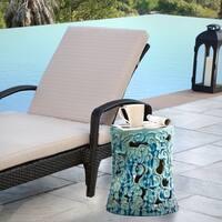 Abbyson Osla Antique Teal Ceramic Garden Stool