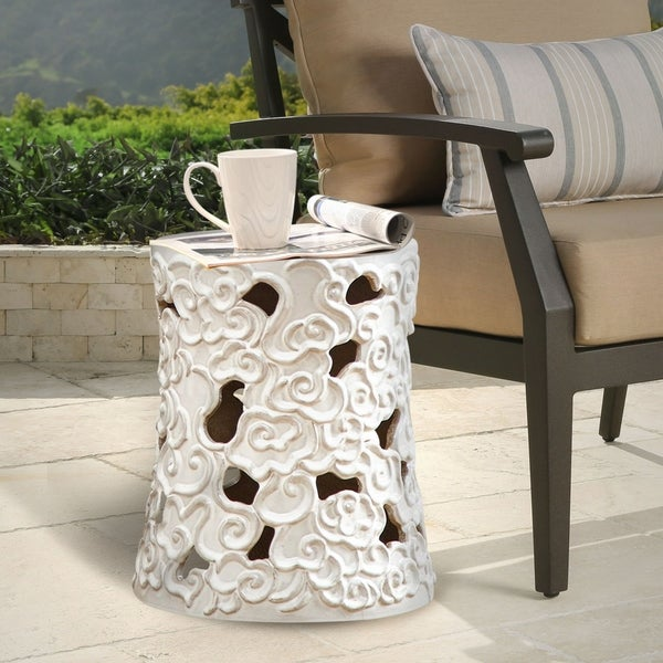 Shop Abbyson Osla Antique White Ceramic Garden Stool On