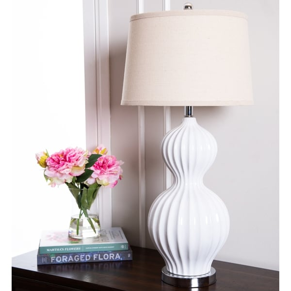 Abbyson Large White Fluted Large 32-inch Table Lamp