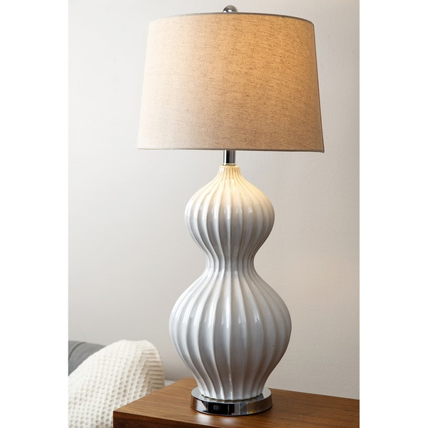 Abbyson large white fluted large table lamp