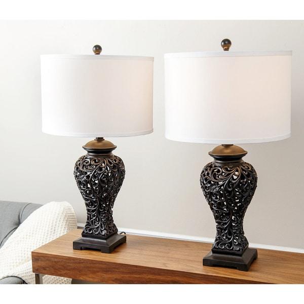 Abbyson Fleur De Lis Brown Table Lamp (Set Of 2)