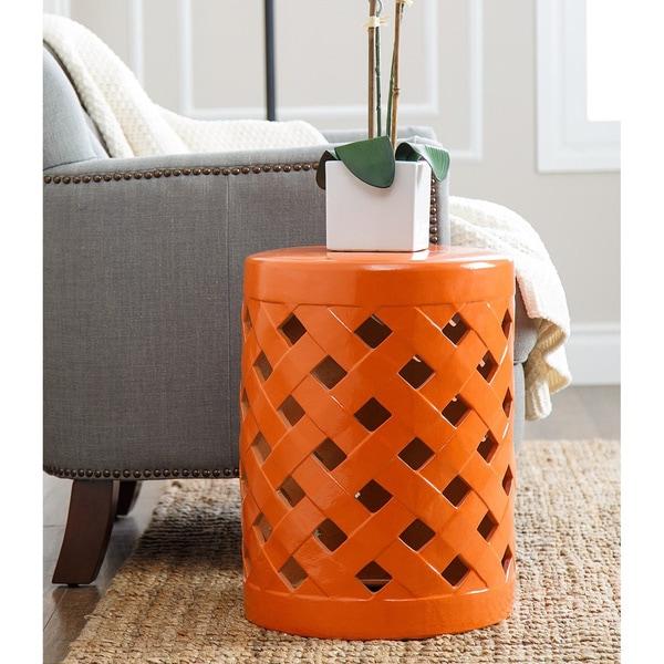 Abbyson Capiz Orange Ceramic Garden Stool