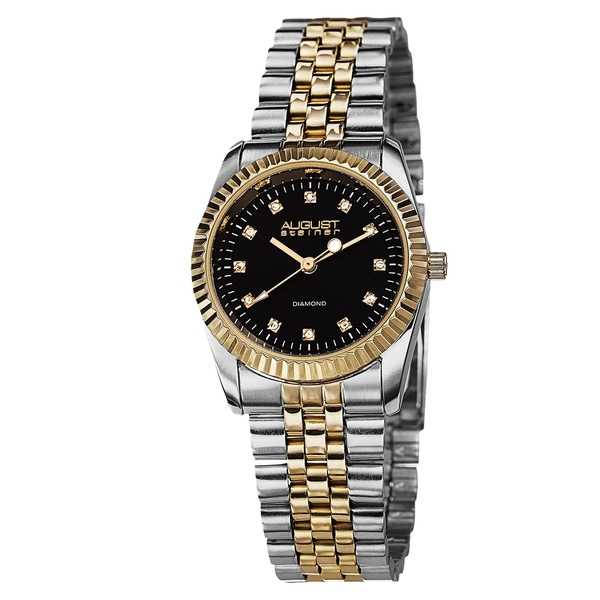 August Steiner Women's Diamond Markers Stainless Steel Two-Tone Bracelet Watch with FREE Bangle