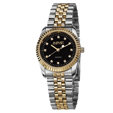 August Steiner Women's Diamond Markers Stainless Steel Two-Tone Bracelet Watch