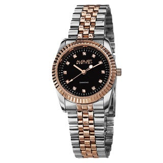 August Steiner Women's Two-Tone Stainless Steel Diamond Watch with FREE GIFT
