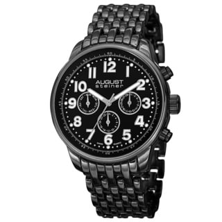 August Steiner Men's Swiss Quartz Dual Time Zone Multifunction Black Bracelet Watch