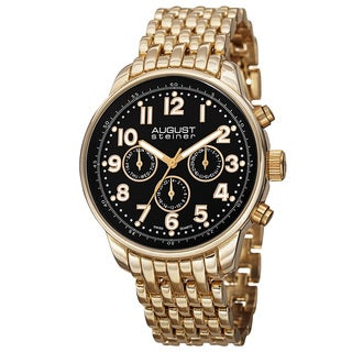 August Steiner Men's Swiss Quartz Dual Time Zone Multifunction Gold-Tone Bracelet Watch