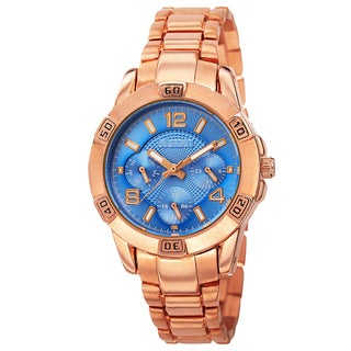 August Steiner Men's Quartz Colorful Dial Multifunction Rose-Tone Bracelet Watch