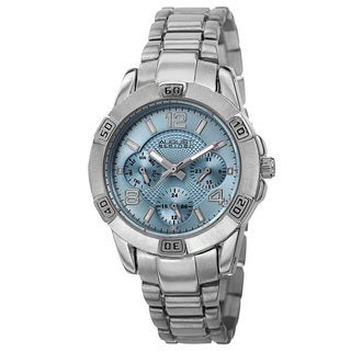 August Steiner Men's Quartz Colorful Dial Multifunction Silver-Tone Bracelet Watch