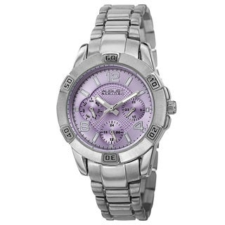 August Steiner Men's Quartz Colorful Dial Multifunction Silver-Tone Bracelet Watch