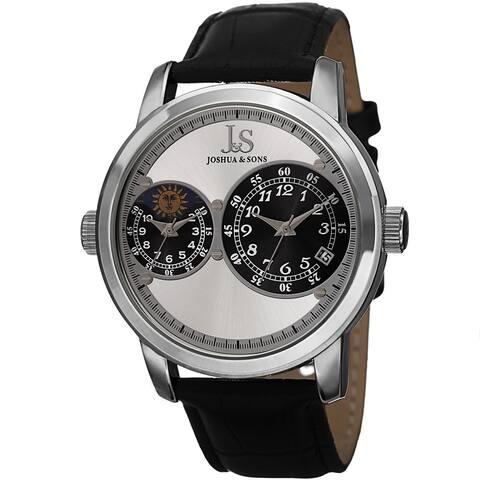 Joshua & Sons Men's Swiss Quartz Dual Time Zone Leather Silver-Tone Strap Watch