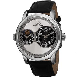 Joshua & Sons Men's Swiss Quartz Dual Time Zone Leather Silver-Tone Strap Watch with FREE GIFT https://ak1.ostkcdn.com/images/products/9625397/P16811648.jpg?impolicy=medium