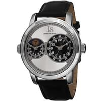 Joshua & Sons Men's Swiss Quartz Dual Time Zone Leather Silver-Tone Strap Watch