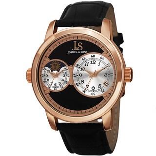 Joshua & Sons Men's Swiss Quartz Dual Time Zone Leather Strap Watch