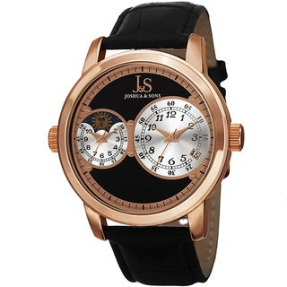 Joshua & Sons Men's Swiss Quartz Dual Time Zone Leather Rose-Tone Strap Watch