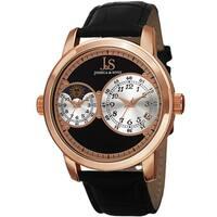 Joshua & Sons Men's Swiss Quartz Dual Time Zone Leather Rose-Tone Strap Watch