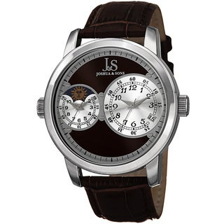 Joshua & Sons Men's Swiss Quartz Dual Time Zone Leather Brown Strap Watch