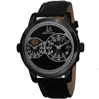 Joshua & Sons Men's Swiss Quartz Dual Time Zone Leather Black Strap Watch