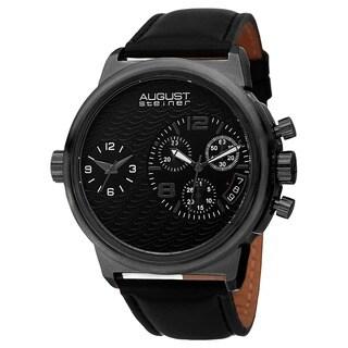 August Steiner Men's Swiss Quartz Chronograph Dual Time Leather Black Strap Watch