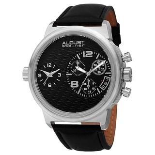 August Steiner Men's Swiss Quartz Chronograph Dual Time Leather Silver-Tone Strap Watch