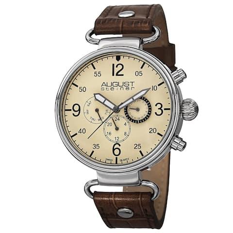 August Steiner Men's Swiss Quartz Multifunction Leather Brown Strap Watch