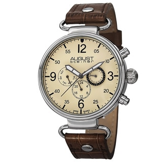 August Steiner Men's Swiss Quartz Multifunction Leather Brown Strap Watch