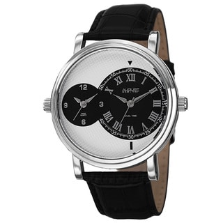 August Steiner Men's Swiss Quartz Dual Time Leather Silver-Tone Strap Watch