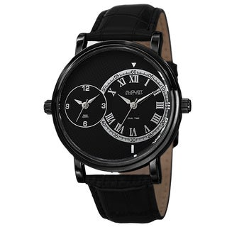 August Steiner Men's Swiss Quartz Dual Time Leather Black Strap Watch