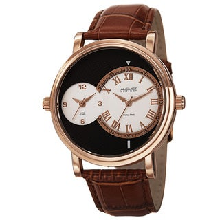 August Steiner Men's Swiss Quartz Dual Time Leather Rose-Tone Strap Watch