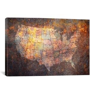 iCanvas Michael Thompsett USA Map Canvas Print Wall Art