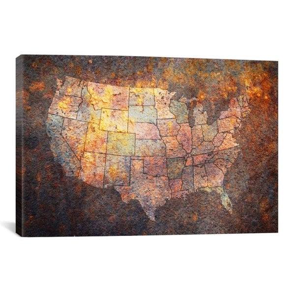 Shop Icanvas Michael Thompsett Usa Map Canvas Print Wall Art On
