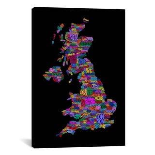 iCanvas Michael Thompsett Great Britain UK City Text Map (Black) Canvas Print Wall Art