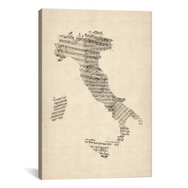 iCanvas Michael Thompsett Italy Sheet Music Map Canvas Print Wall Art