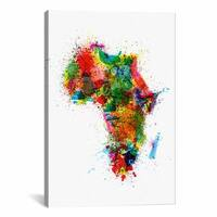 iCanvas Michael Thompsett Paint Splashes Map Of Africa Canvas Print Wall Art