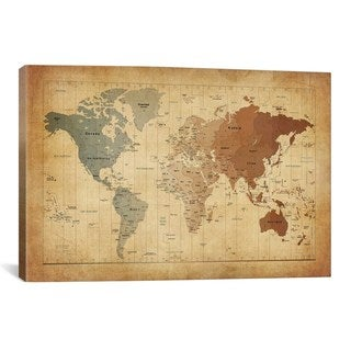 iCanvas Michael Thompsett Map of The World III Canvas Print Wall Art