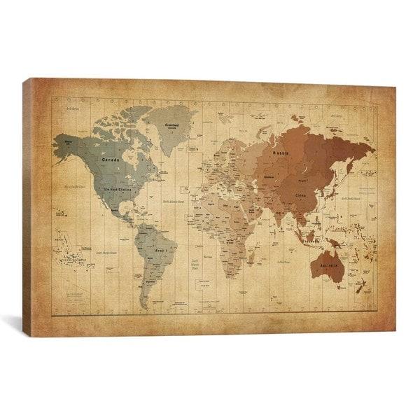 Shop iCanvas Michael Thompsett Map of The World III Canvas Print ...