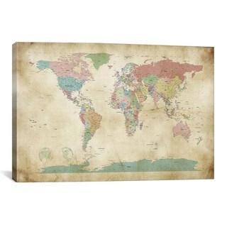 Michael Thompsett 'World Cities Map' Canvas Print Wall Art