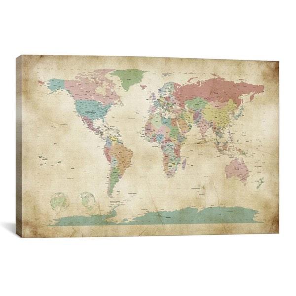 Icanvas michael thompsett world cities map canvas print for World map wall print