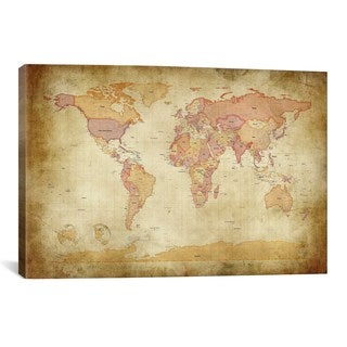 iCanvas Michael Thompsett Map of The World II Canvas Print Wall Art