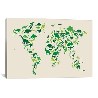 iCanvas Michael Thompsett Dinosaur Map Of The World Canvas Print Wall Art