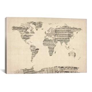 iCanvas Michael Thompsett Old Sheet Music World Map Canvas Print Wall Art