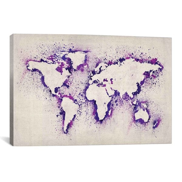 Shop icanvas michael thompsett map of the world purple paint icanvas michael thompsett map of the world purple paint splashes canvas print wall art gumiabroncs Gallery